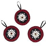 "Christmas Snowflake Ornament Felt Embroidered Set of 3-4"""