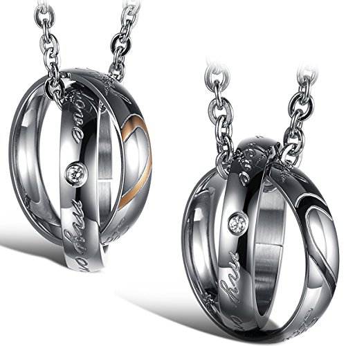- Flongo 2Pcs Dual Rings Hook-ups Promise Heart Matching Pendant Necklace Stainless Steel Couples Mens Womens