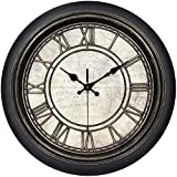 45Min 14 Inches Retro Wall Clock, Silent Non Ticking Battery Operated Movement, Home/Wall Decor, Easy to Read, Decorate Bedroom/Living Room/Office with Arabic/Roman(Roman)