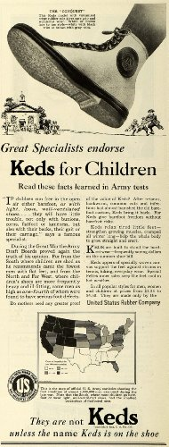 1927 Ad Children Keds Shoes Army Tested Conquest style Sneaker Schoolhouse USA - Original Print - Rubb Usa
