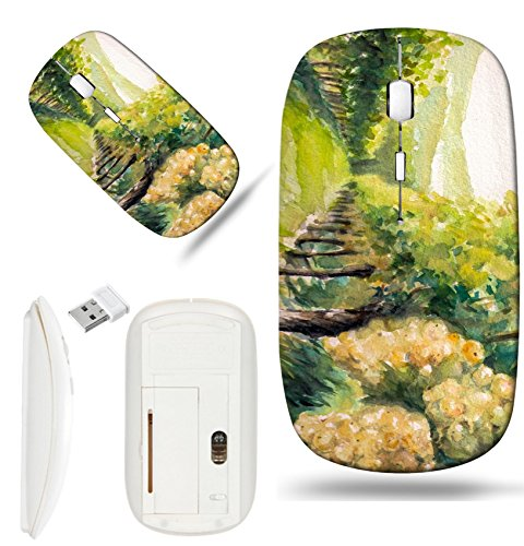 (Luxlady Wireless Mouse White Base Travel 2.4G Wireless Mice with USB Receiver, 1000 DPI for notebook, pc, laptop, macdesign IMAGE ID: 32369372 Landscape with vineyard Picture created with watercolors)