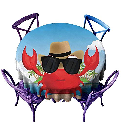 AndyTours Washable Round Tablecloth,Crabs,Cool Crustacean with Black Sunglasses and a Hat Summer Vacation on Tropical Island,Party Decorations Table Cover Cloth,47 INCH Multicolor