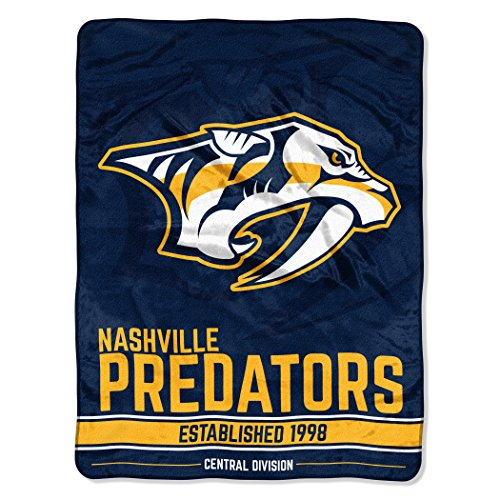 "Officially Licensed NHL Nashville Predators Break Away Micro Raschel Throw Blanket, 46"" x 60"""