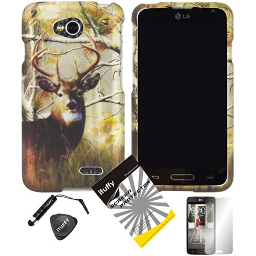 (4 items Combo: ITUFFY (TM) LCD Screen Protector Film + Mini Stylus Pen + Case Opener + Design Rubberized Snap on Hard Shell Cover Faceplate Skin Phone Case for Prepaid Android Smartphone LG Optimus L70 MS323 Metro PCS / LG Optimus Exceed 2 VS450PP Verizon / LG L70 Cricket (Deer Tree Camouflage))