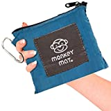 MEGA MONKEY MAT Portable Indoor/Outdoor 5'x8' Water/Sand Repellent Blanket with Corner Weights & Loops in Compact Pouch for Beach, Picnic, Baby, Camping, Travel, Concert (Blue Yonder)