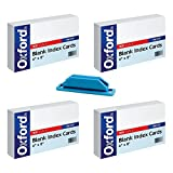 Oxford Blank Index Cards, 4'' x 6'', White (4 Pack) bundle with Rubber Pen/Pencil Holder