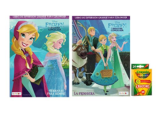 Disney Frozen (Spanish) Coloring and Activity Book (Set of 2) with Crayola Crayons 24ct