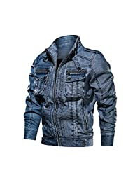 Clearance Mens Jacket! Forthery Men's Autumn Winter Casual Wash Distressed Denim Jacket Vintage Coat Top Blouse