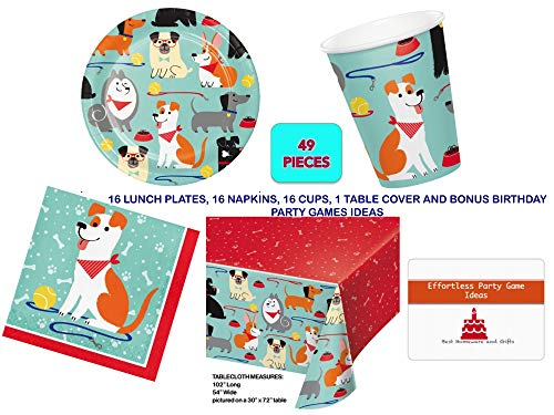 Dog Party Supplies Set for 16 guests -Tableware Kit for puppy dog birthday party - Includes Lunch Plates, Napkins, Table Cover and Paper - Desk Dog Set
