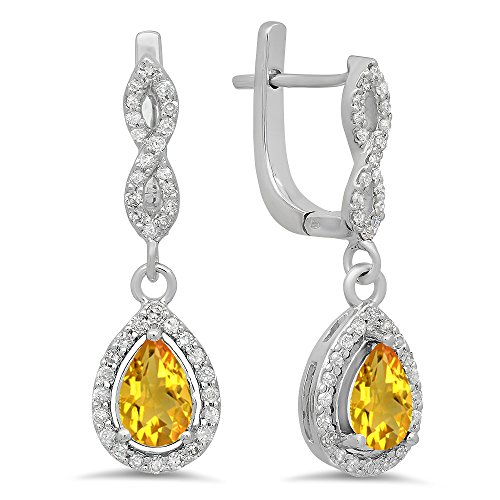 Diamond Earrings Citrine And (14K White Gold Pear Citrine & Round White Diamond Ladies Halo Style Dangling Drop Earrings)