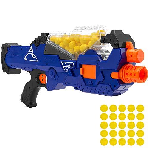 Best Choice Products Electric Motorized Soft Foam Ball Rapid Fire Blaster Toy w/Hopper Feeder, 20 Balls (Guns Fire)