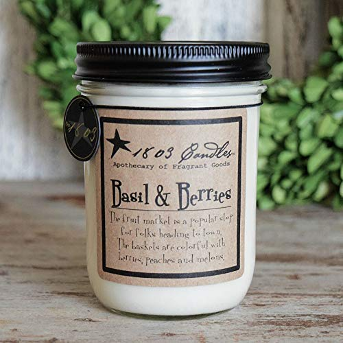 1803 Candles - 14 oz. Jar Soy Candles - (Basil and Berries) ()