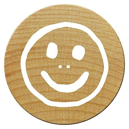 15/mm Holz Woodies Smiley Mini Stempel braun