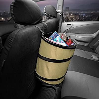 FH Group FH1121BEIGE Auto Car Trash Can Portable Collapsible Car Trash Can Waterproof Garbage Container Large, Beige Color: Automotive