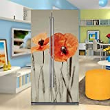 yazi Side-by-side Refrigerator Full Door Cover Decal Vinyl Removable Sticker Kitchen Art Décor Flower 20x71 inches by 2 pieces