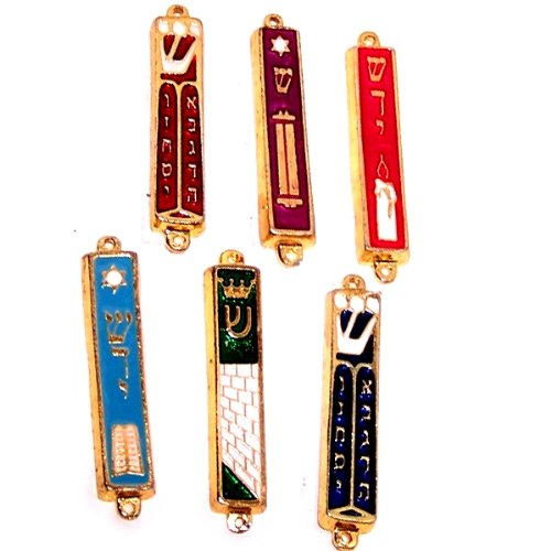 A Set of 6 Gold plated Mezuzahs with different enameled themes. Each is about 3 Inches.