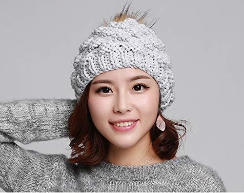 Acvip Beanie Headwear chiaro Winter Grigio Ananas Crochet Woman Warm rtxq4Urw
