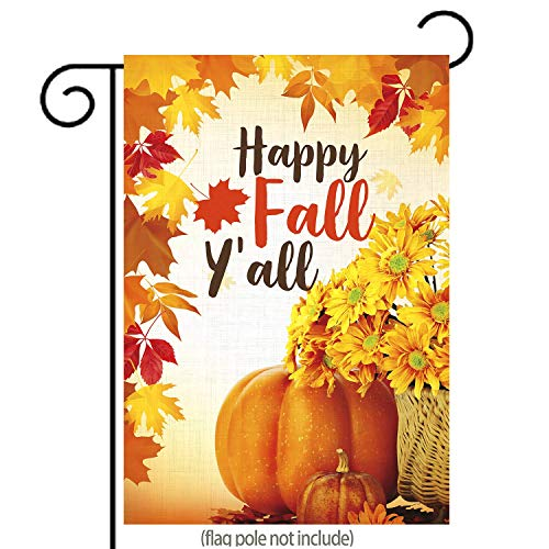 GDF Studio Happy Fall Yall Garden Flag Autumn Flowers Leaves and Pumpkin Double-Sided,100% All-Weather Polyester, Thanksgiving Yard Flag to Bright Up Your Garden 12.5 x 18
