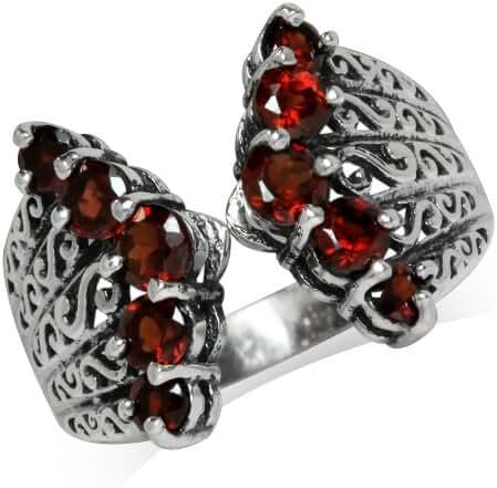 Natural Garnet 925 Sterling Silver Victorian Style Filigree Ring