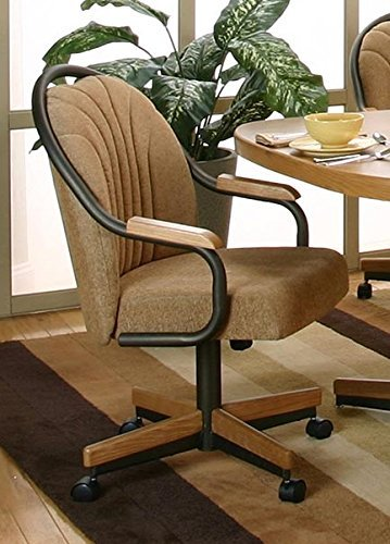 Casual Swivel Tilt Rolling Caster Dining Arm Chair (Set of 2) (Espresso / Harvest) (Dinette Set With Caster Chairs)