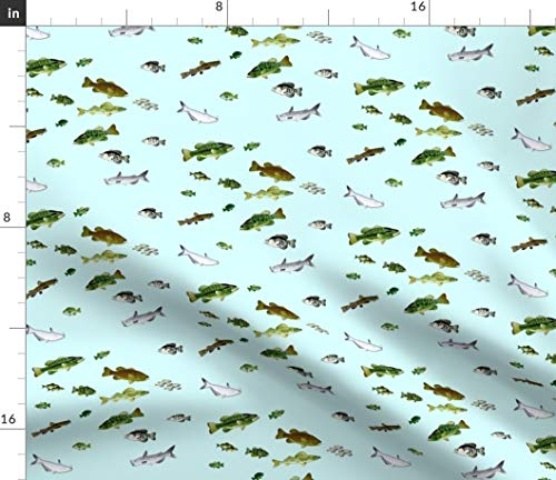 Spoonflower Bass Fabric - Sunfish Crappie Walleye Perch Catfish Lake by Combatfish Printed on Satin Fabric by The Yard