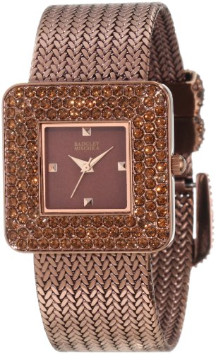 badgley-mischka-womens-ba-1197bmbn-swarovski-crystal-accented-brown-ion-plated-tone-mesh-bracelet-wa