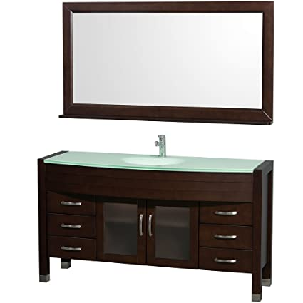 Wyndham Collection Daytona 60 Inch Single Bathroom Vanity In Espresso With  Green Glass Top With Integrated