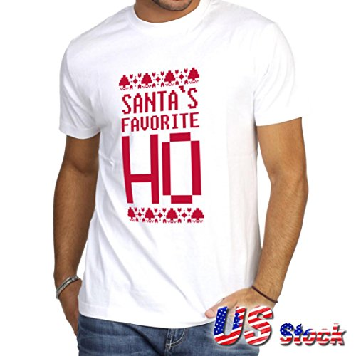 HOT SALE!Napoo US Stock Men Santa's Favorite Ho Funny Christmas Shirt Cotton Unsex T-shirt Tops (White, - Stocks Polo