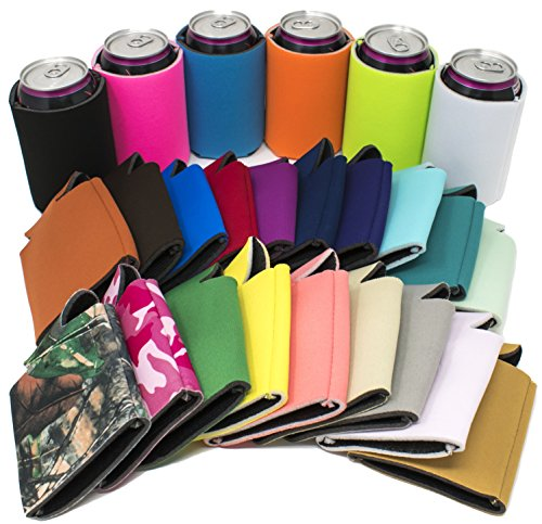 TahoeBay 25 Can Sleeves - Multi Color Beer Coolies for Cans and Bottles - Bulk Blank Drink Coolers – Create Custom Wedding Favor, Funny Party Gift (25-Pack) (Multicolor)