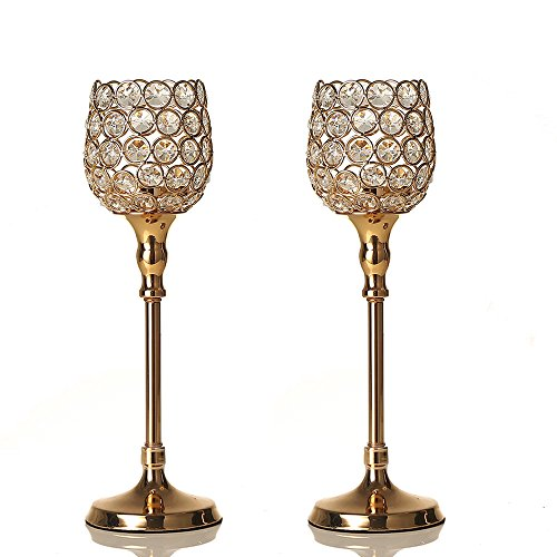 Ball Light Gold Glass (VINCIGANT Gold Crystal Candlestick Holders Sets for Modern Home Decorations/Gift for Anniversary Celebration)