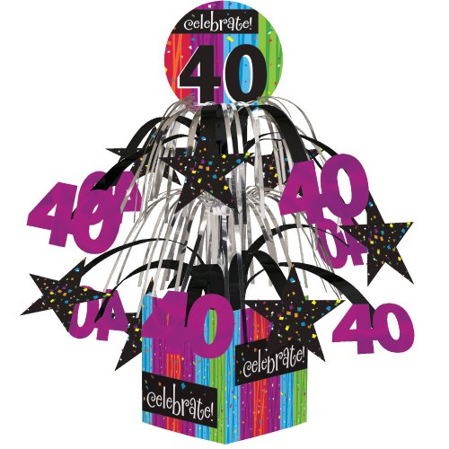 Creative Converting Party Decoration Metallic Foil Cascading Centerpiece, Milestone Celebrations 40th