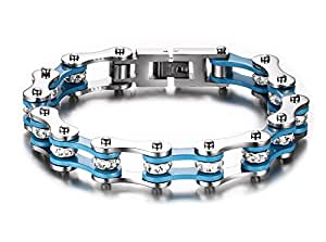 MPRAINBOW MP Men's Stainless Steel Clear Crystal Bike Chain Motorcycle Bracelet for Men Punk Gothic Type Blue,22cm