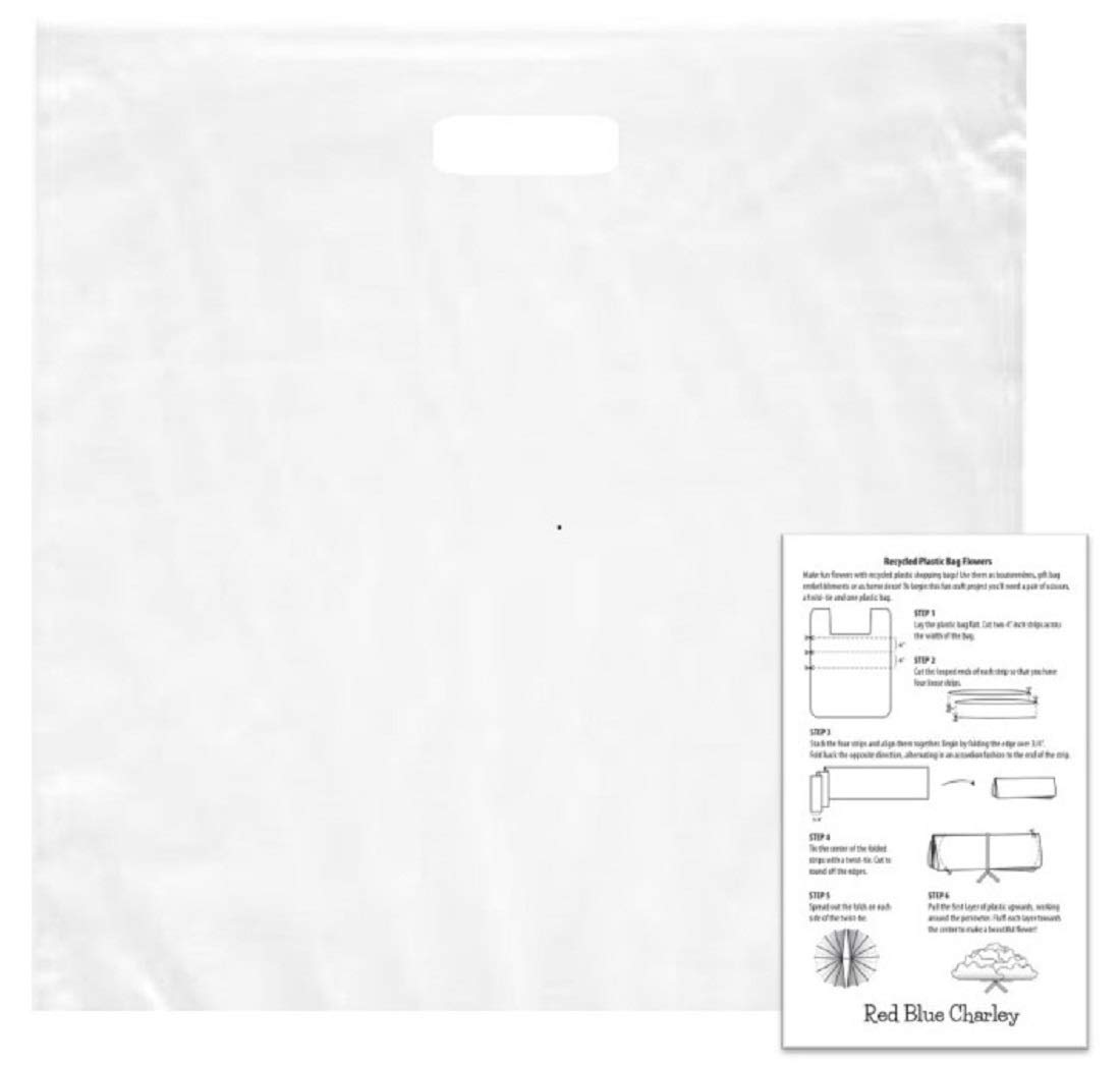 Ultra Clear 20x20x5 Retail Merchandise Handle Bags 1.5 mil (100 pk) with 1 Craft Insert