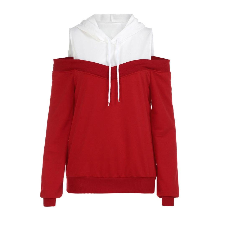 Spbamboo Womens Off Shoulder Long Sleeve Hoodie Sweatshirt Pullover Tops Blouse