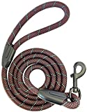 """iYoShop Dog Leash Pet Training Leashes - 3/8 Inch Thick 5 Feet Long - Quality Thick Nylon - Soft Handle and Light Weight Pet Lead - for Small Medium Large Dogs (3/8"""" X 5', Black)"""