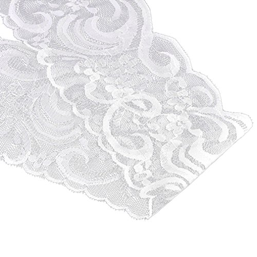 - Souarts 10 Yards White Stretch Floral Scallop Lace Edge Trim 3-3/8