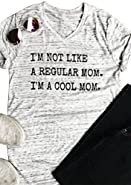 FAYALEQ I'm Not Like A Regular Mom I'm A Cool Mom Funny T-Shirt Women's V-Neck Tops Tee