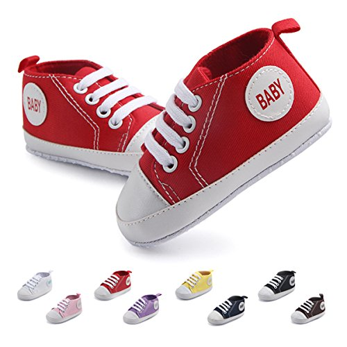 Baby Shoe Infant Red Sneakers (Antheron Infant Canvas Shoes - Baby Boys Girls Anti-Slip First Walker Toddler Sneaker Newborn Crib Shoes (Red,6-9Month))