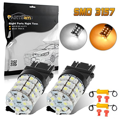 Partsam 2x 3157 White Amber Switchback LED Bulbs Front Turn Signal Light Blinker 60-SMD +Load Resistors 3157A 3357A 3457A 4157NA 3757A 3057A 3057 Standard Type (NOT CK)
