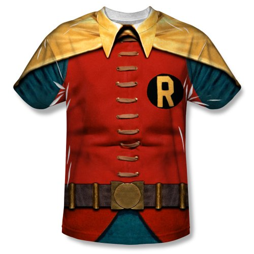 Robin Costume Design (Batman TV Series - Men's T-Shirt Robin Costume design , XL, White)