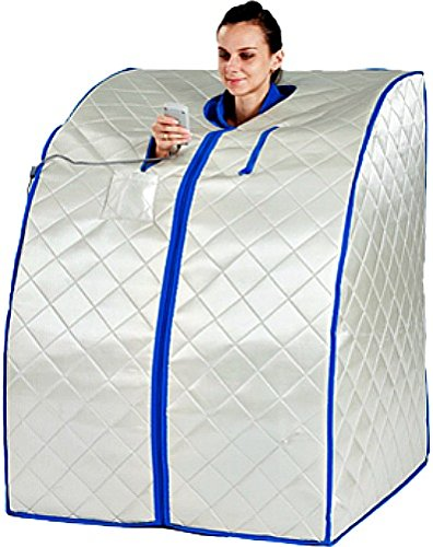 Sauna Portable Large Size Box Carbon Fiber Heat Infrared with Heated Foot Pad - Negative Ion Generation