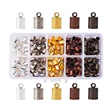 PH PandaHall 1 Box 200PCS 5 Color Brass Leather Ends Cord Glue in Barrel End Caps, Leather Cord Finding Kit for Kumihimo Jewelry and Tassel Making, 5.5mm