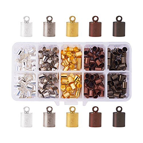 - PandaHall Elite 1 Box 200PCS 5 Color Mixed Barrel Brass Leather Cord Ends Cord End Caps 10x6mm