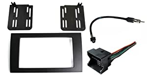 Aftermarket Radio Stereo Installation Double Din Dash Kit Mount Trim Bezel for Select Audi A4 and RS4 Models with Wire Harness and Antenna Adapter
