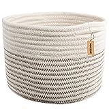 INDRESSME Small Storage Basket - Cute Cotton Rope Basket - Closet Storage Bins - Desk Basket Organizer - Baby Nursery Organizer for Toy Storage Bin- 9.4' x 9.4' x 7.1'