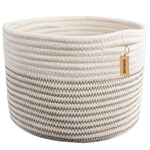 INDRESSME Small Storage Basket - Cute Cotton Rope Basket - Closet Storage Bins - Desk Basket Organizer - Baby Nursery Organizer for Toy Storage Bin- 9.4