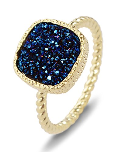 ZENGORI 12mm Gold Plated Square Blue Natural Agate Titanium Druzy Ring for Women Size 6 ZG058-2B