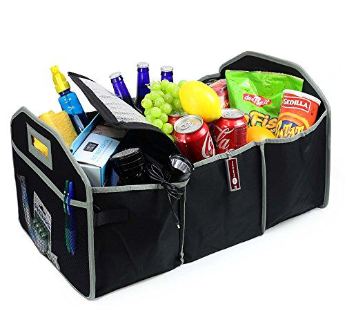 2 in 1 Collapsible Trunk Organizer & Cooler Folding Flat Trunk Organizer w Refillable Lighter