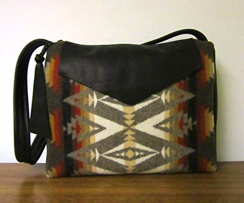 Black Leather Shoulder Bag Handbag Wool from Pendleton Oregon by Timberlineltd
