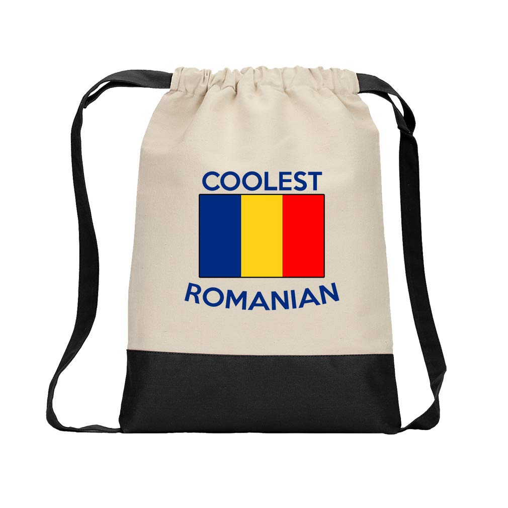 Coolest Romanian Cotton Canvas Color Drawstring Bag Backpack - Black